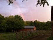 double rain on farm barntractor